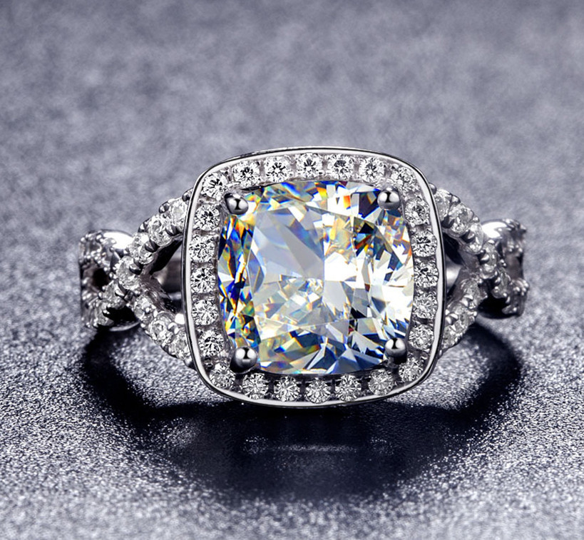Sterling Silver 3 Ct Cushion Cut Simulated Stone Engagement Rings
