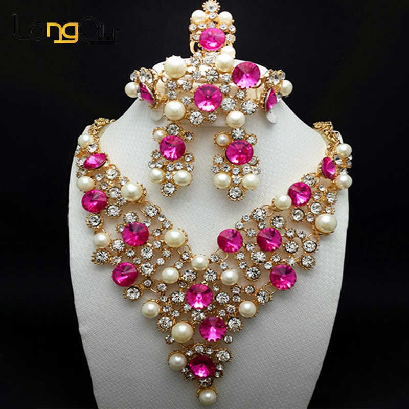 2018 Nigerian wedding african beads jewelry set for women elegant dubai jewelry sets Gold-color necklaces earrings with stones