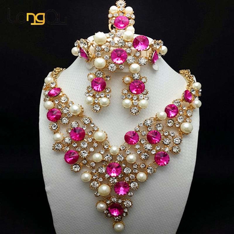 2018 Nigerian Hochzeit Afrikanische Perlen Schmuck Set Für Frauen Elegante Dubai Schmuck Sets Gold-farbe Halsketten Ohrringe Mit Steinen Profitieren Sie Klein