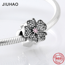 New Spring Flower Shape Beads 925 Sterling Silver Fit Original Pandora Bracelet Pendant Necklace Pink and clear Zircon Jewelry