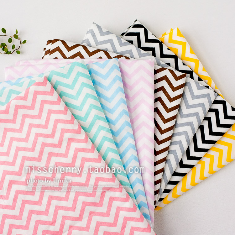 Free shipping 160x50cm / 8pcs 40*50cm Basic candy-colored stripes wave cotton fabric twill DIY children's bedding cloth 180g/m