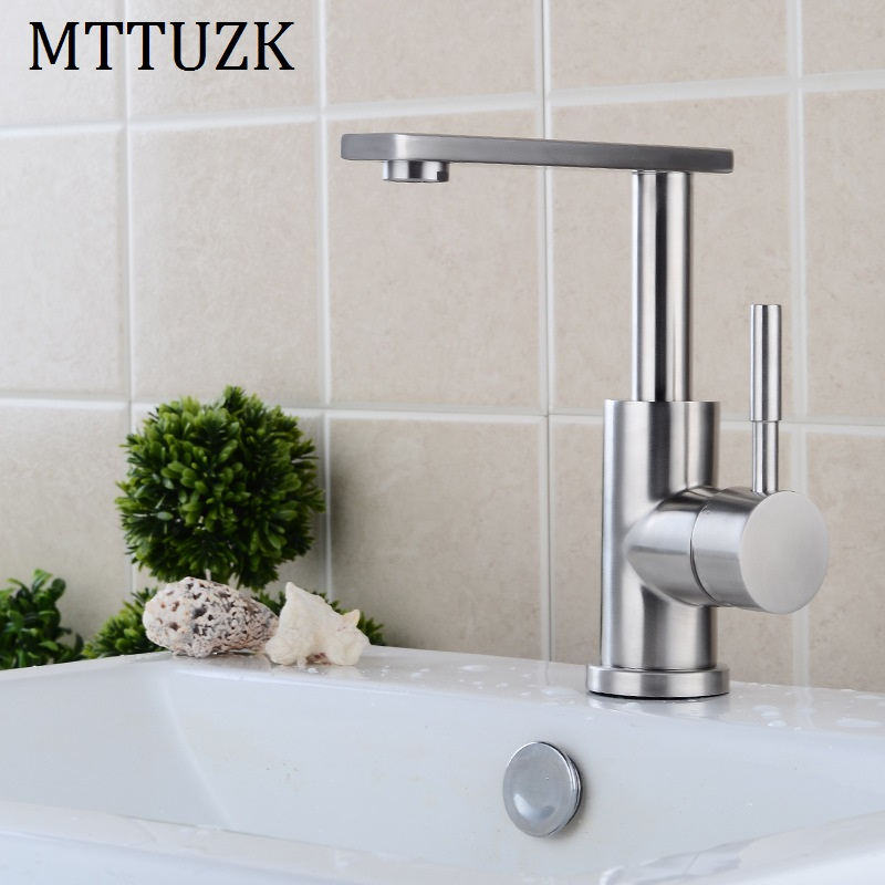 MTTUZK High quality 304 stainless steel brushed kitchen faucet 360 degree rotary table wash basin faucet