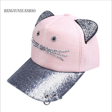 HANGYUNXUANHAO 2019 New Meow Womens Summer Fall  Hat Cat Ears Baseball Cap With Rings And Lace Cute Girl