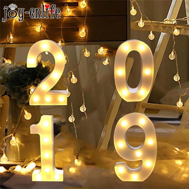 846 32 De Descuentofeliz Año Nuevo 2019 Brillante Luces Led Digitales Decoraciones De Navidad Para El Hogar Número Luces Navidad Kerst Decoración