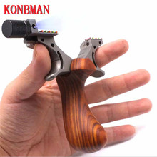 Precise TC21 Titanium Alloy +wood Slingshot Catapult Outdoor Hunting Shooting Sling shot with Powerful Flat Rubber Band