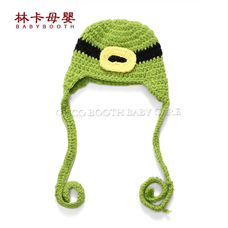 ₩Verde del bebé sombrero hecho a mano de punto recién nacido crochet ...