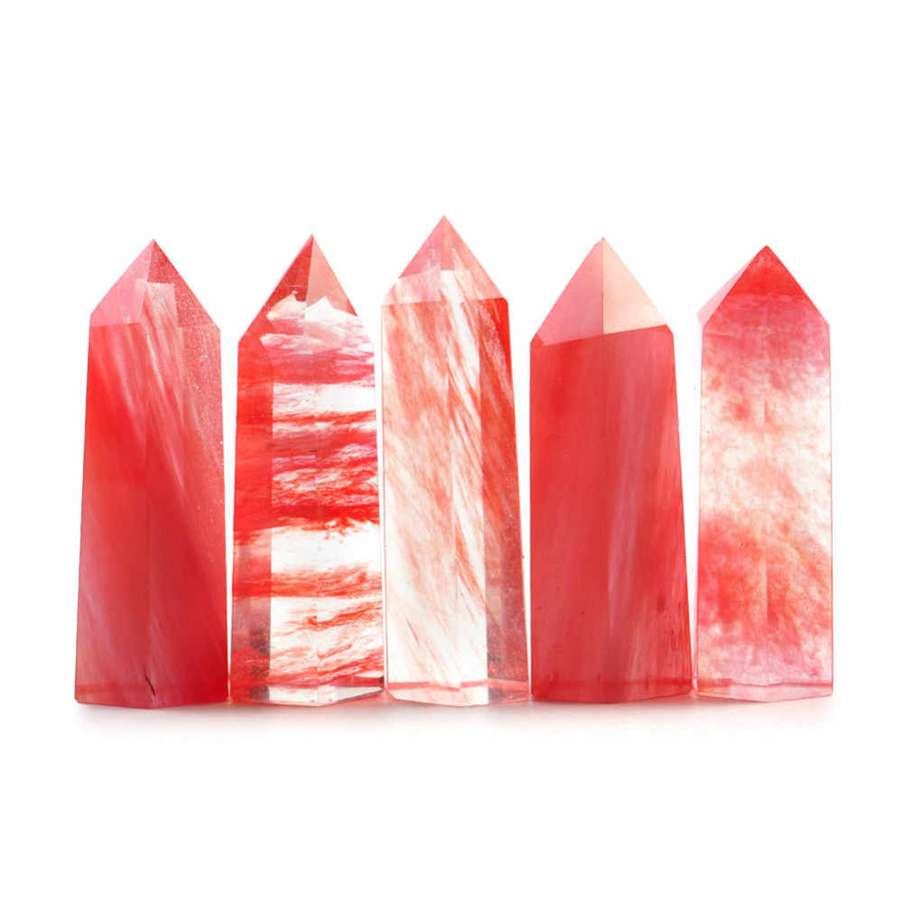 100% Natural Red Fluorite Quartz Crystal Stone Point Healing Hexagonal Quartz Crystal Wand Treatment Stone Collection 50-60mm