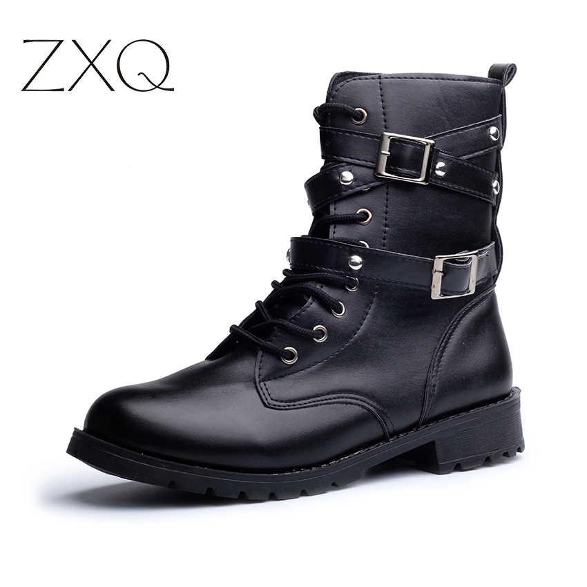 a125b8ec016 ... Hot Sale Fashion Women Motorcycle Boots Ladies Vintage Rivet Combat  Army Punk Goth Ankle Shoes Biker ...
