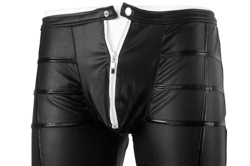 c59d8b5310504 ... Plus Size Underwear Men's Leggings Pants Stage Performance Sexy  Lingerie Men Latex Faux Leather PU Gay