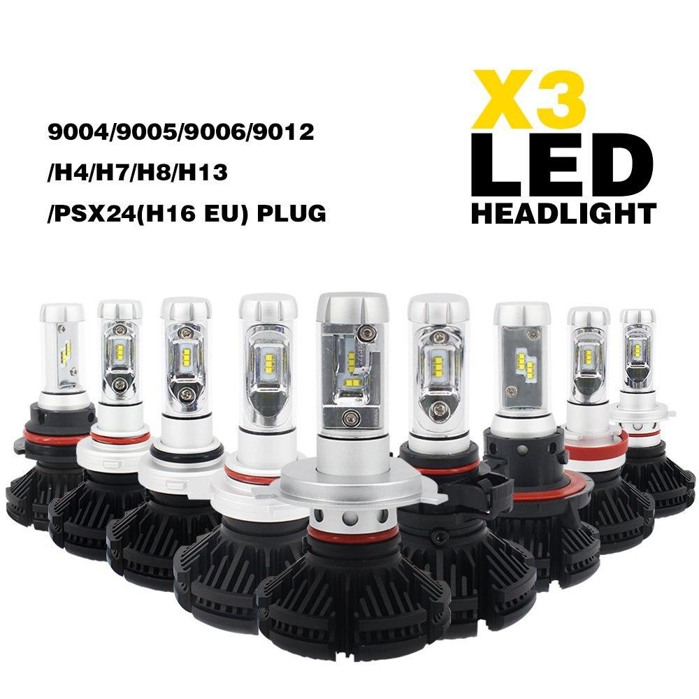 X3 55W 12,000LM -H13/9008 9004/HB1 9007/HB5 H4 Hi/Lo Dual Beam LED Headlight Conversion Kit - 3000K 6500K 8000K CSP ZES LED Chip