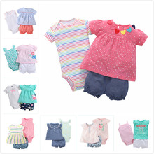 3 Pieces Baby girls clothing set 2018 Summer Children Toddle girls bodysuit+tops+shorts Soft Cotton Bebies Kids Clothes Outfits