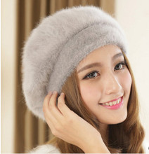 2017 top quality winter warm hat New Warm Cute Princess Rabbit Hat Female Winter Knitted Womens Fur Berets AA0002