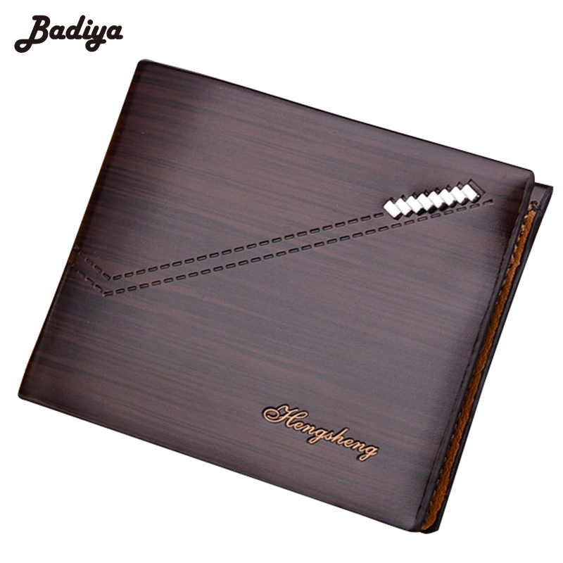 New RFID Men's Short Wallet Cross Section Wood Pattern Bifold PU Leather Multi-Card Holders Male Purse Anti Degaussing Wallets