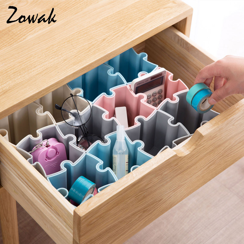 Modren Desk Drawer Organizer Tray Office Storage Jigsaw Patchwork Basket Bins For Ideas