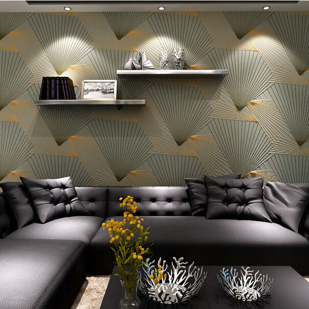 Quality 3d flocking Wall paper fan shape stripe crystal 3d wallpaper rolls for living room 3d diamond wallcovering decoration quality suede damascus 3d photo wallpaper rolls for walls 3d stripe wall paper background 3d room wallcovering 3d papel parede