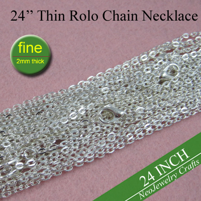 24 inch Shiny Silver Vintage Rolo Chain Necklaces 60cm Metal Necklace Chain Silver Chain 2mm Thick