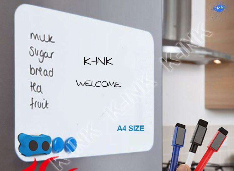 A4 Size New Creative Magnetic Whiteboard , Soft Whiteboard As Fridge Magnet / Office Marker Blackboard / Sticker