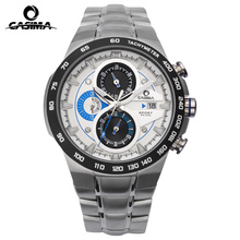 Casima LUXURY Men Business Top Brand Silver Steel Quartz-Watch Chronograph Luminous Date Clock Men's Fashion Casual Wristwatch