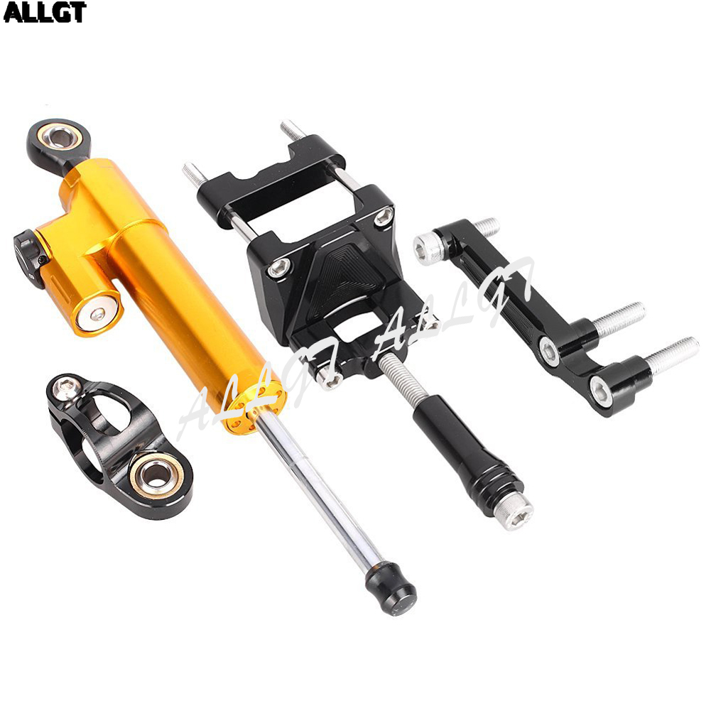ALLGT CNC Steering Damper Set With Bracket Kits For Kawasaki Ninja300 2013 2014 2015 2016 motorcycle cnc steering damper with bracket suport for kawasaki z800 2013 2014
