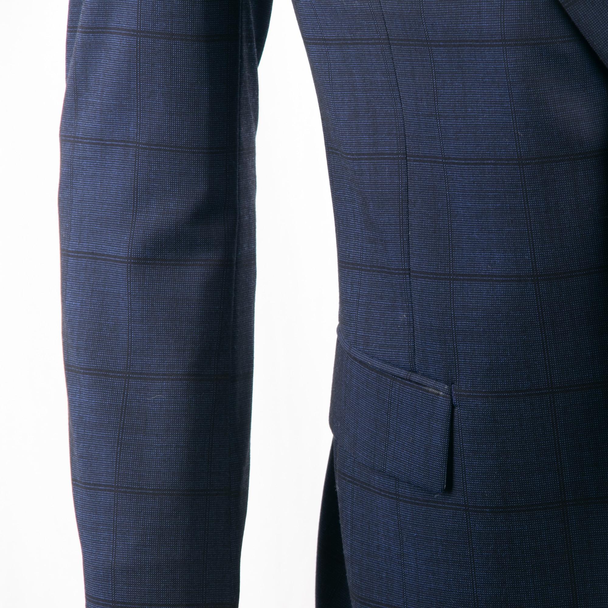 Smart Casual Navy Plaid Anzug Nach Maß Slim Fit Dunkelblau Windowpane Anzüge Mit Nailhead Muster, subtile Plaid Wolle Mischung Anzug-in Anzüge aus Herrenbekleidung bei  Gruppe 3