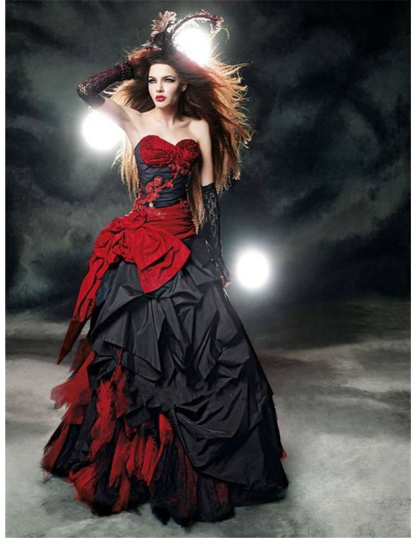 colourful wedding dresses sweetheart ball gown sleeveless red flower tiers organza lace up bridal gowns bo red gothic wedding dress Gothic Wedding Dresses Red and Black Sweetheart Ball Gown Sleeveless Tiers Organza Lace up Bridal