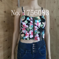 Sexy Top Summer Crop Tops Women 2017 Color Short Retro Tube Top Fluorescence Harness Backless Print