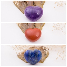 NATURAL STONE Amethyst Red Jasper Rose Quartz Fluorite 30mm Heart Shape Lapis Crystal Chakra Carved Healing Reiki