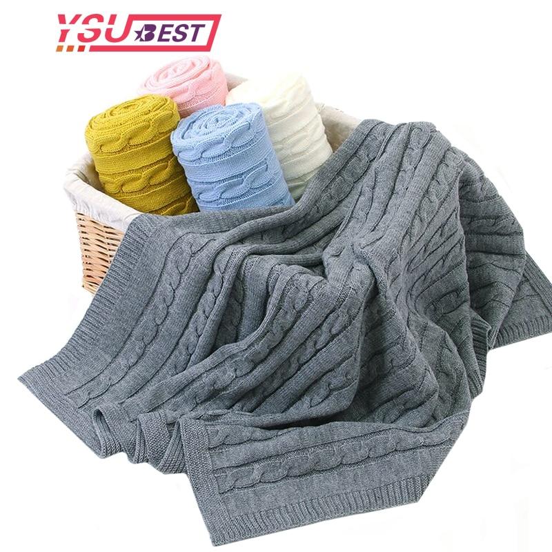 Newborn Baby Blanket Infant Cotton Knitted Crochet Blankets Swaddle Wrap Soft Stretch Crib Sleeping Bedding For Boys Girls Kids