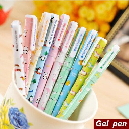 Ofis ve Okul Malzemeleri'ten Jel Kalemler'de 100 adet/grup Çin hayvan Jel kalem Kawaii tükenmez kalemler yazma Zakka hediye Canetas escolar malzemesi okul malzemeleri 6508'da  Grup 1