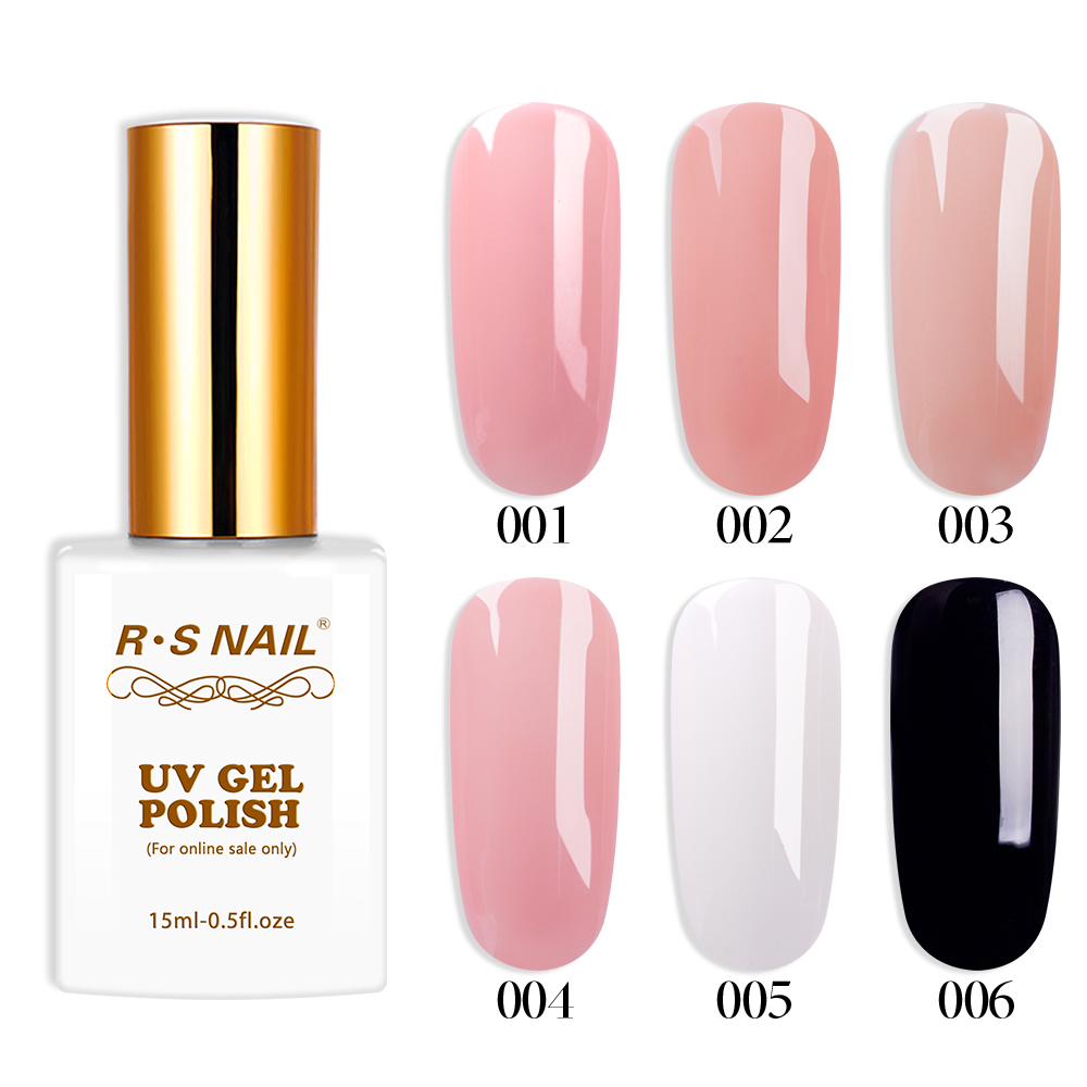 R-S Nail 15ml Rubber Base Coat Series Nude UV Color Gel