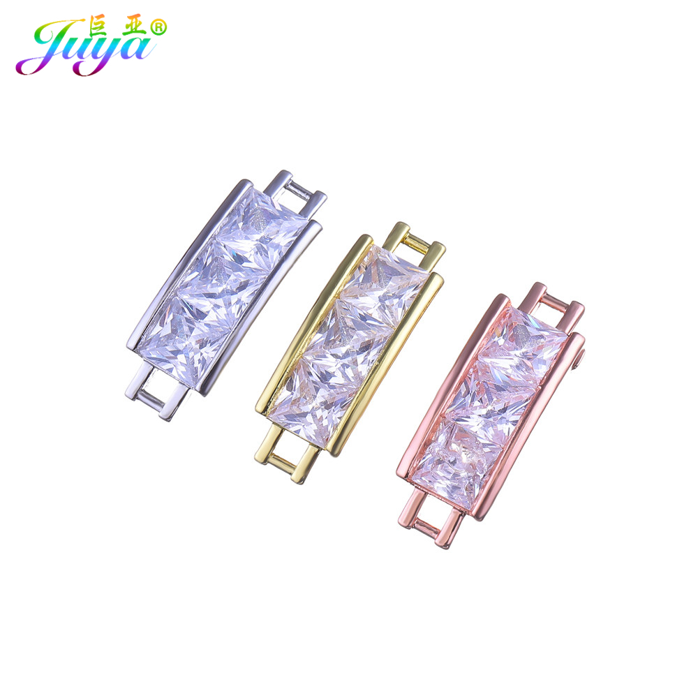 DIY Jewelry Components Gold/Rose Gold AAA Cubic Zirconia Metal Decorative Connectors For Women Men Costume Jewelry Making