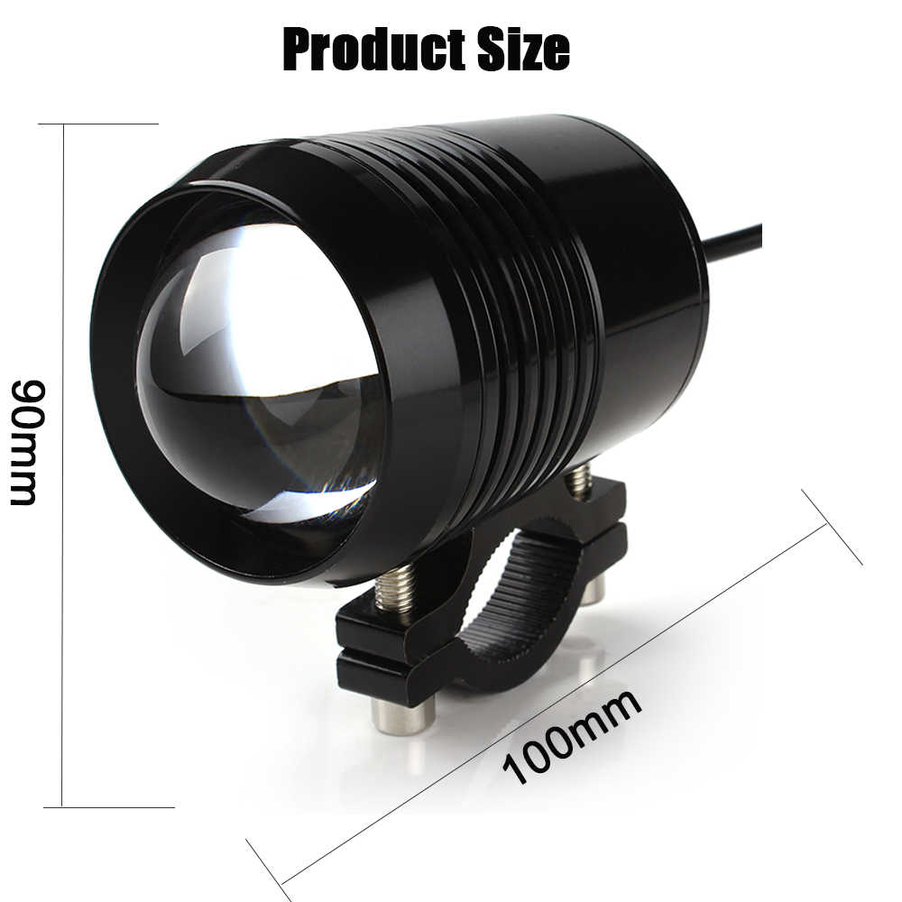 2PCS Motorcycle Headlight U2 1200LM 30W High Low Flash LED Driving Spot Head Bulb Light Lamp Headlight Black Silver