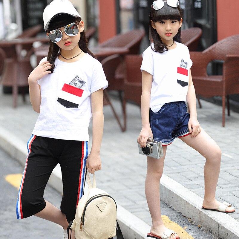 цена  Girls summer clothes girls sport suit kids tracksuit short sleeve print O-neck T-shirt pants two pieces children clothing sets  онлайн в 2017 году