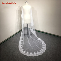 Long One layer Bridal Lace Cathedral Wedding Veils White Ivory Bridal 3 meters With Appliques Cheap Wedding Accessories