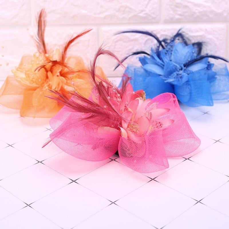 Bridal Wedding Flower Feather Beads Mesh Hat Fascinator Womens Bride Headwear Accessory