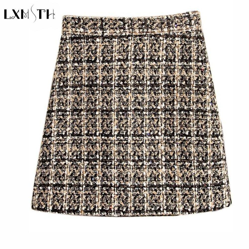 2018 Spring Summer Mini Tweed Skirt Women Sexy Plaid Skirts Ladies Fashion Korean Short Woolen Skirts High Waist