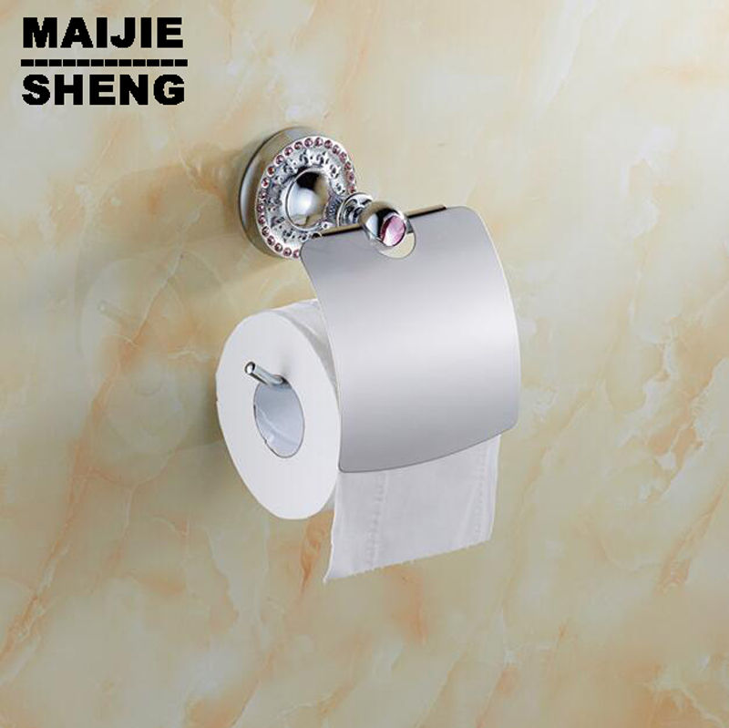 Free shipping Pink crystal Toilet Paper Holder,Roll Holder,Tissue Holder,Solid Brass Chrome Bathroom Accessories Products dm 009 2015 hot sale handmade damascus stee folding survival camping hunting knife free shipping