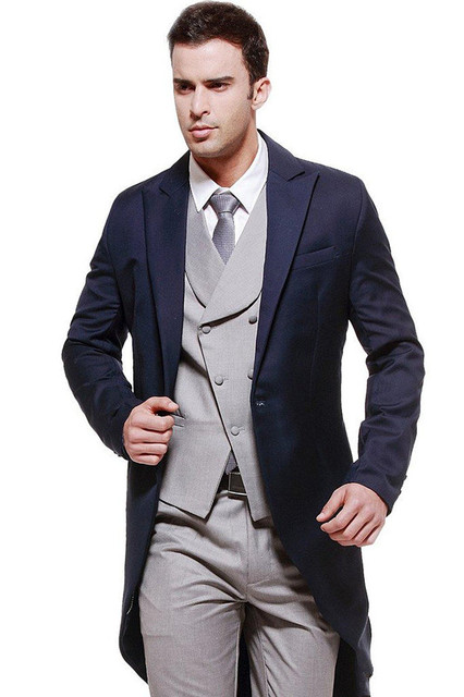3d4cbe8bee9 New Design Long Jacket Tuxedo Men s Wedding Suits Prom Dress Business Suits  (Jacket+Pant