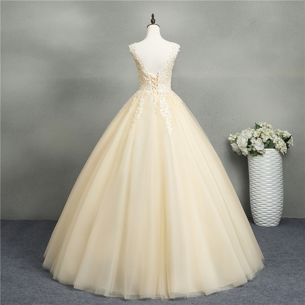Image 3 - ZJ8076 Ball Gowns Sweetheart White Ivory Tulle Champagne Wedding Dresses 2019 with Pearls Bridal Dress Plus Size 2 26W-in Wedding Dresses from Weddings & Events
