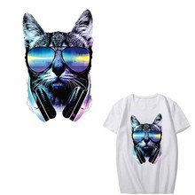 Iron on Music Cat Patches for Clothing Heat Transfer Vinyl Stickers Print T-shirt Dresses Applique Animal Patch Thermal Press
