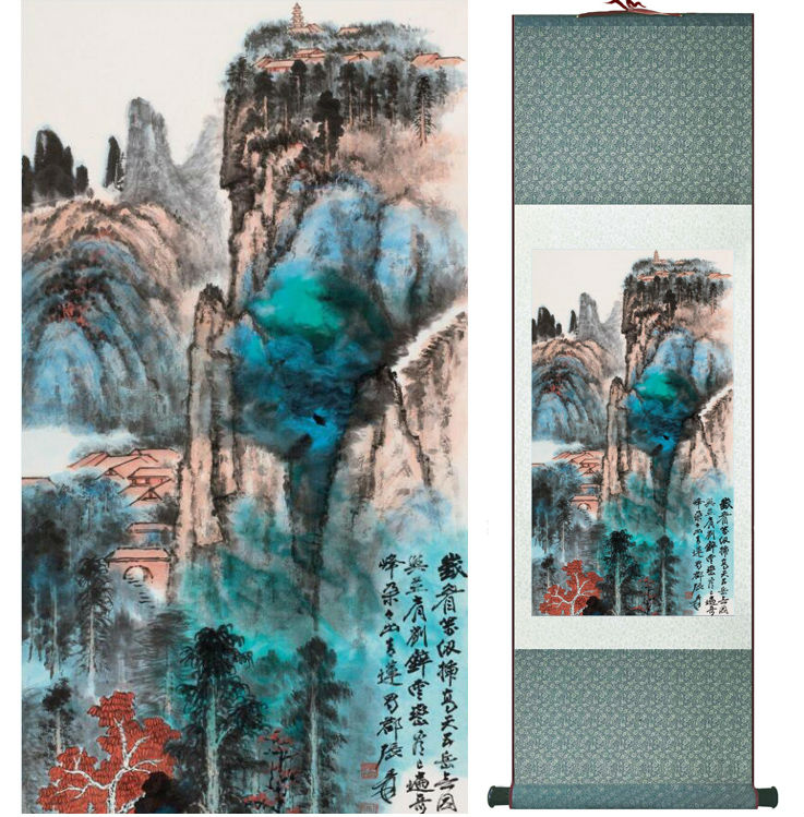 Zhangdaqian Mountain and River painting Chinese scroll painting landscape art painting home decoration painting 0402025