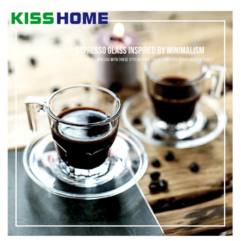 70ml Glass Coffee Mug Mini Espresso Cup Water Tea Dish Set Heat Cold Resistant Milk Transparent Drinkware Coffeeware