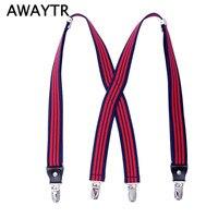 110 Cm AWAYTR Adjustable Fashion Suspenders Men Women Red Black Blue Pink Striped Braces Wedding Party