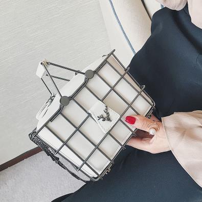 Retro Deer Head Metal Basket Bags Women Shoulder Messager Bag Pu Leather Ladies Handbag Totes Party Purse Bolso femenino 2019