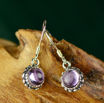 wholesale natural amethyst small bud Earrings personalized old Thai silver earrings manufacturers direct sale