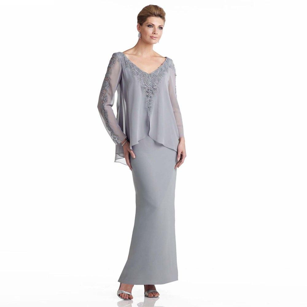 gray 2017 v neck long chiffon mother of the bride dresses gorgeous vestidos mae da