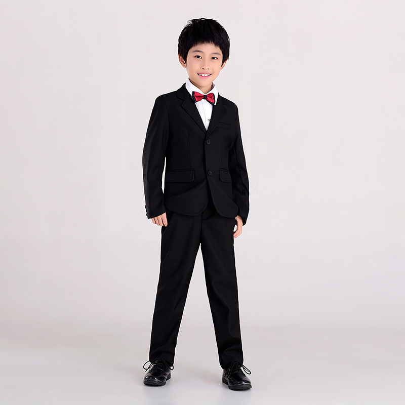 ФОТО 2017 brand dress suits for boys 5-14 years kids long sleeve black jacket+vest+shirt+long pants kids wedding suits for party E015