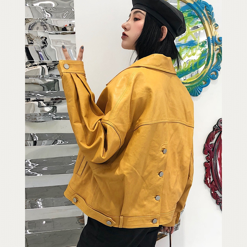 Noir Multiples Européen rouge Manches En Chauves Court Style Robe blanc Mouton De jaune souris À Couleurs Peau Cuir Véritable Femmes 2018 Windcoat gris 4pnxwUqgA