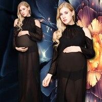 Neue Frauen Mutterschaft Fotografie Requisiten Schwangerschaft Kleidung Mutterschaft Chiffon Schwarz durchsichtig Kleider Für schwangere Foto Schießen