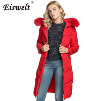 Red Fashion Plus Size Winter Fur Hooded Women S Down Coat Female Jackets Medium Long Thick